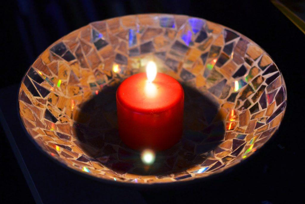 Tutorial: Kerzenteller mit CD-Mosaik